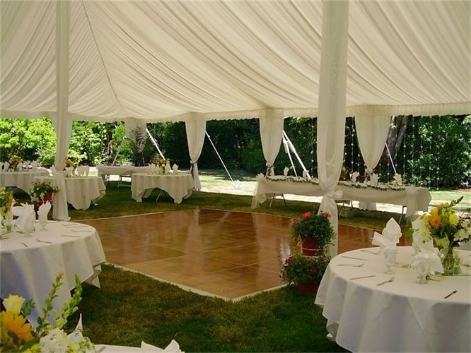 Wedding accessories table rentals chair rentals dance for Wedding tent layout
