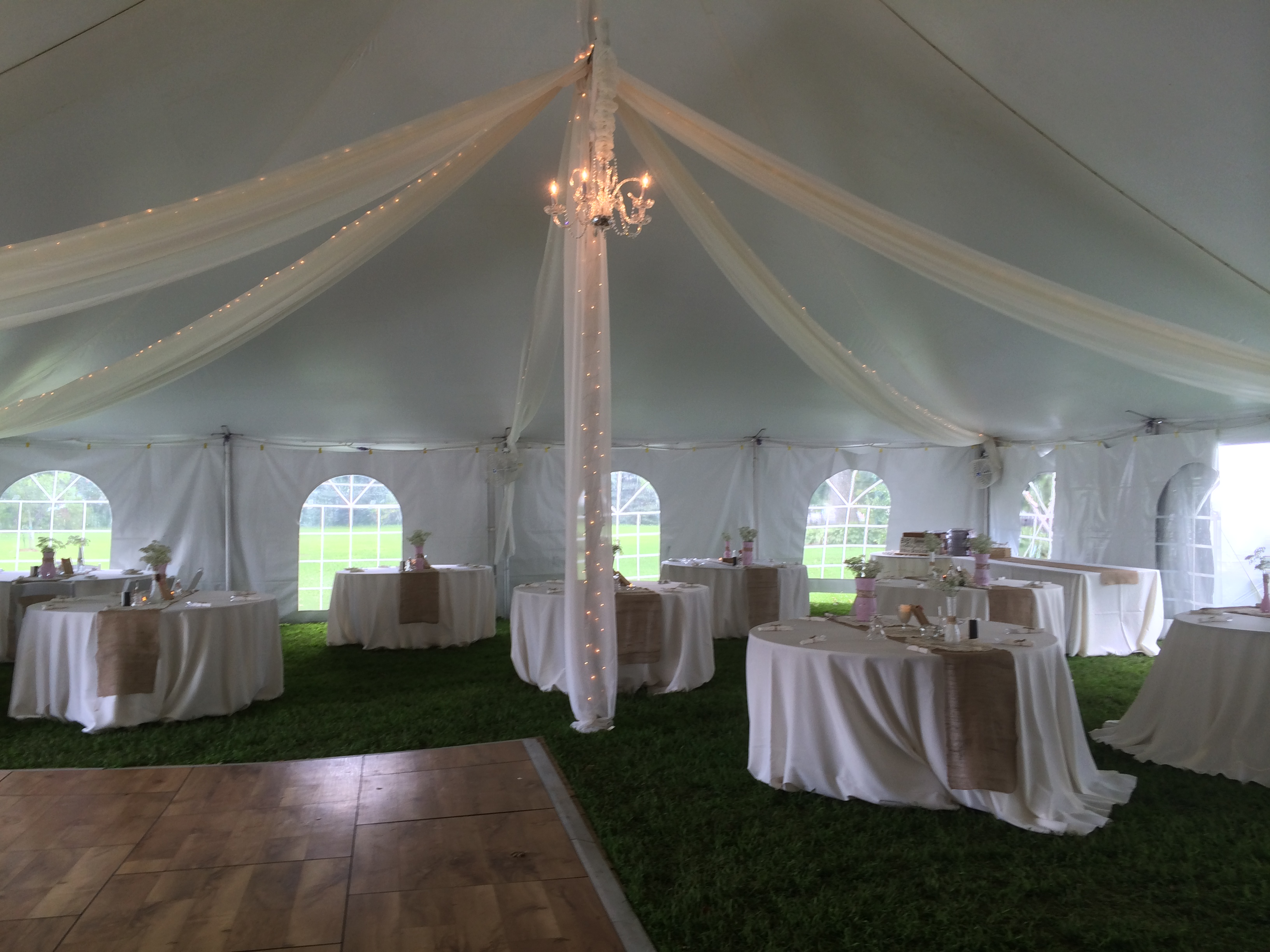 Italian bistro cafe string light rental for wedding reception in - Tent Kiting With Sting Lighting And Optional Chandelier
